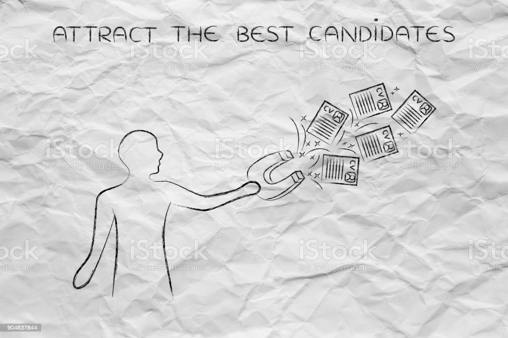person attracting resumes with magnet, recruitment concept stock photo