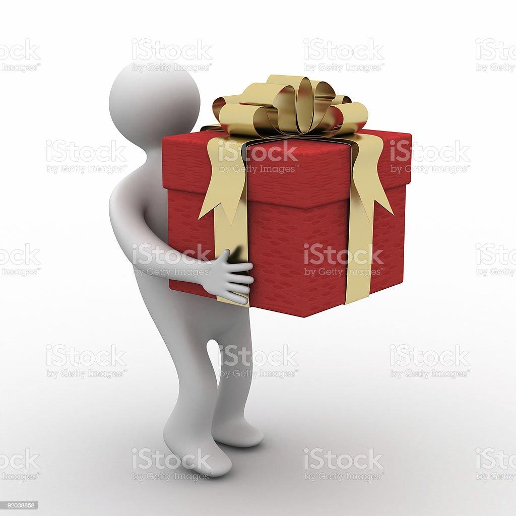 person bearing a gift box. 3D image. royalty-free stock photo