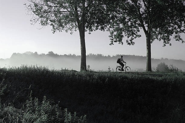 Person Biking on Dutch Levee During Misty Day stock photo