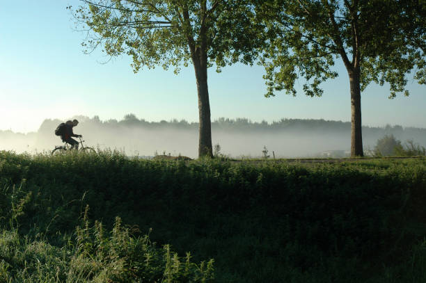 Person Biking on Dutch Levee During Spring stock photo