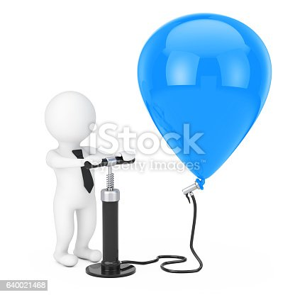 istock Person Businessman with Black Hand Air Pump inflates Blue Bal 640021468