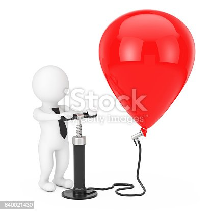 istock Person Businessman with Black Hand Air Pump inflates Red Ball 640021430