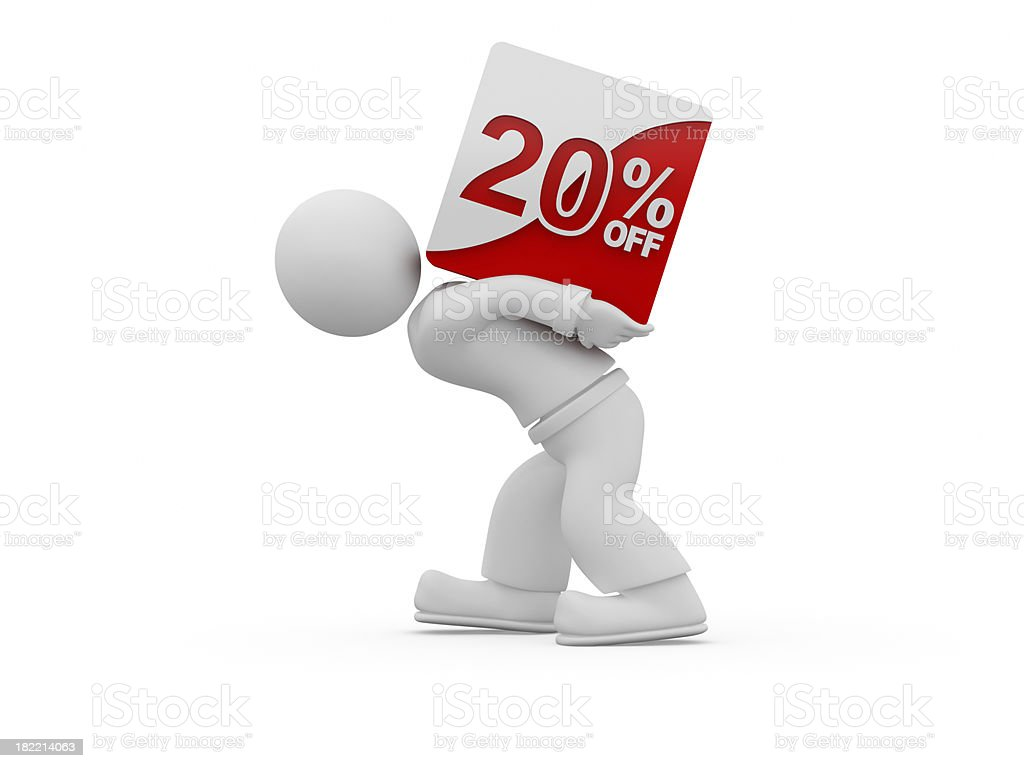 3D person carrying the 20% discount sign. royalty-free stock photo