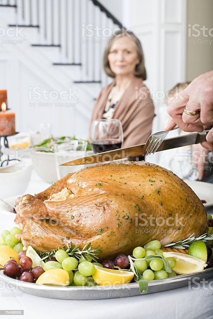 Person carving turkey royalty-free stock photo