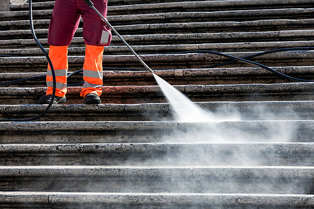 person cleaning the spanish steps in rome, italy - high pressure cleaning stock photos and pictures