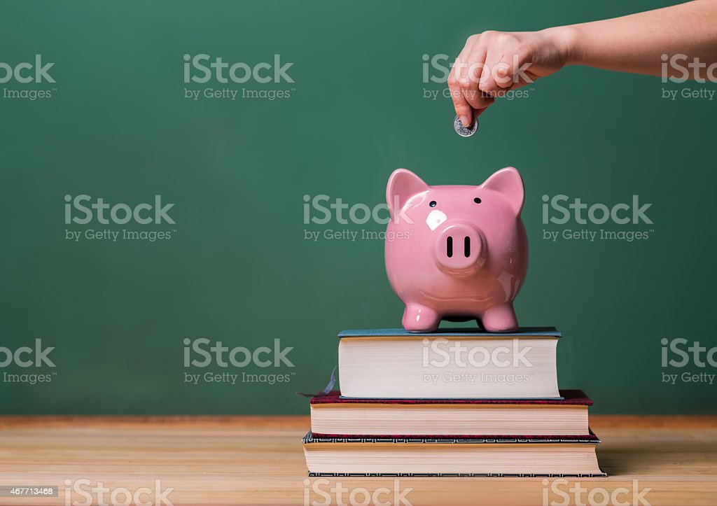 Person depositing money in a piggy bank stock photo