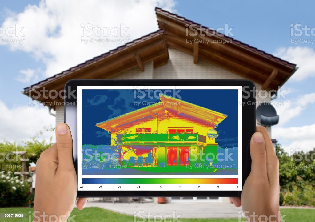 Person Detecting Heat Loss Digital Tablet stock photo