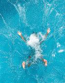 Beautiful woman splashing backwards into a pool. Simply letting go. Nikon D3X. Converted from RAW. (XXXL)