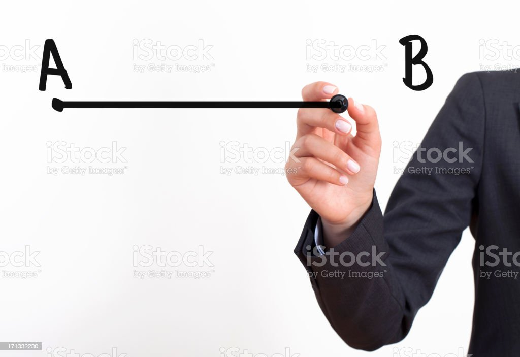 A person drawing a line from point A to point B royalty-free stock photo