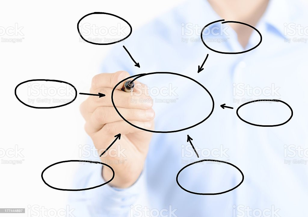 Person drawing circle diagram on glass royalty-free stock photo