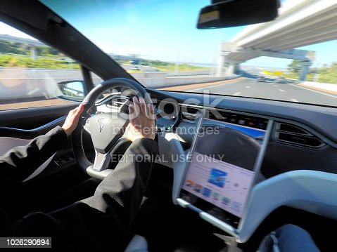 157590217 istock photo Person driving a Tesla plug-in electric car Model X on a motorway 1026290894