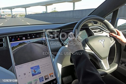 157590217 istock photo Person driving a Tesla plug-in electric car Model X on a motorway 1026291038