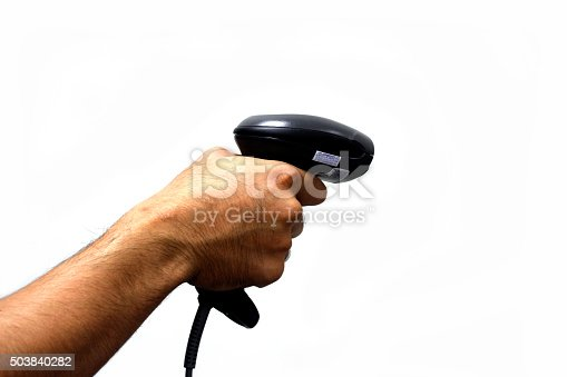 92884259 istock photo person hands with barcode scanner 503840282