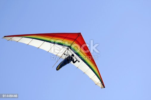 Hang glider with clear blue sky,San Francisco,Ca. Rainbow colors.Click for more action.
