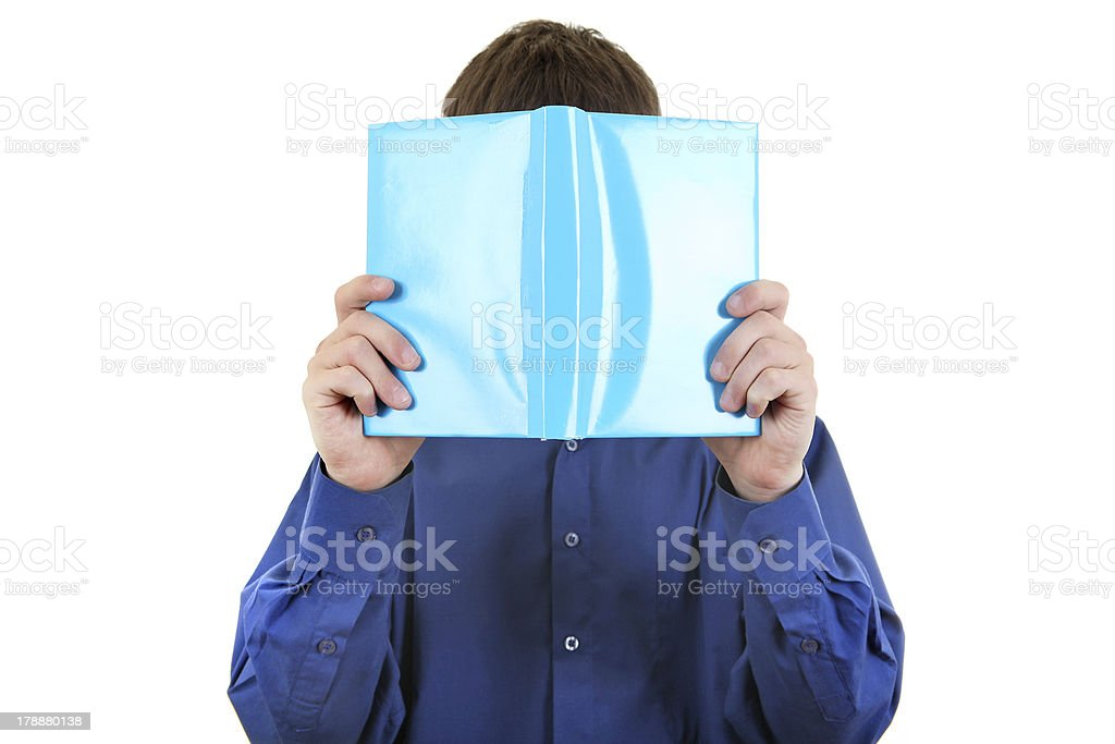 Person hide his Face behind a Book foto