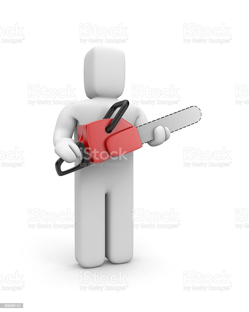 Person hold chainsaw royalty-free stock photo