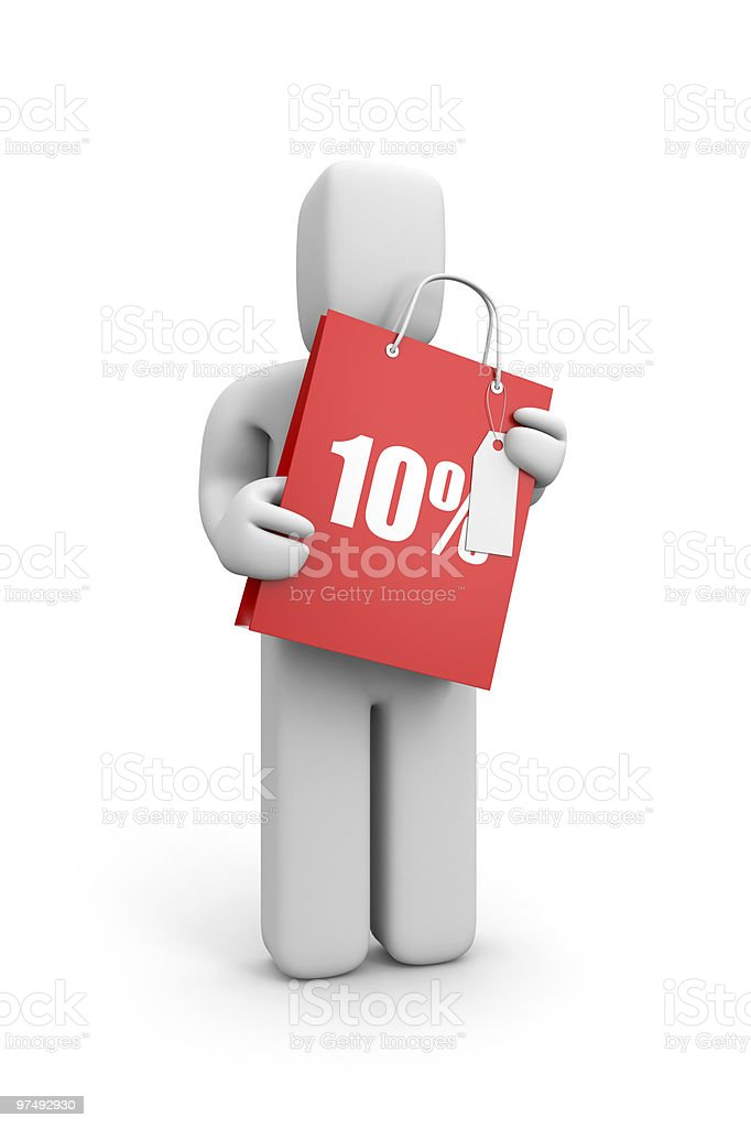 Person hold shopping bag with lable royalty-free stock photo