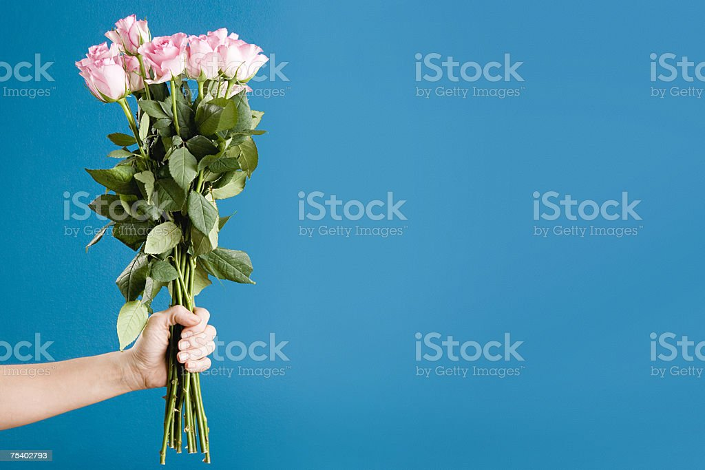 Person holding a bunch of roses