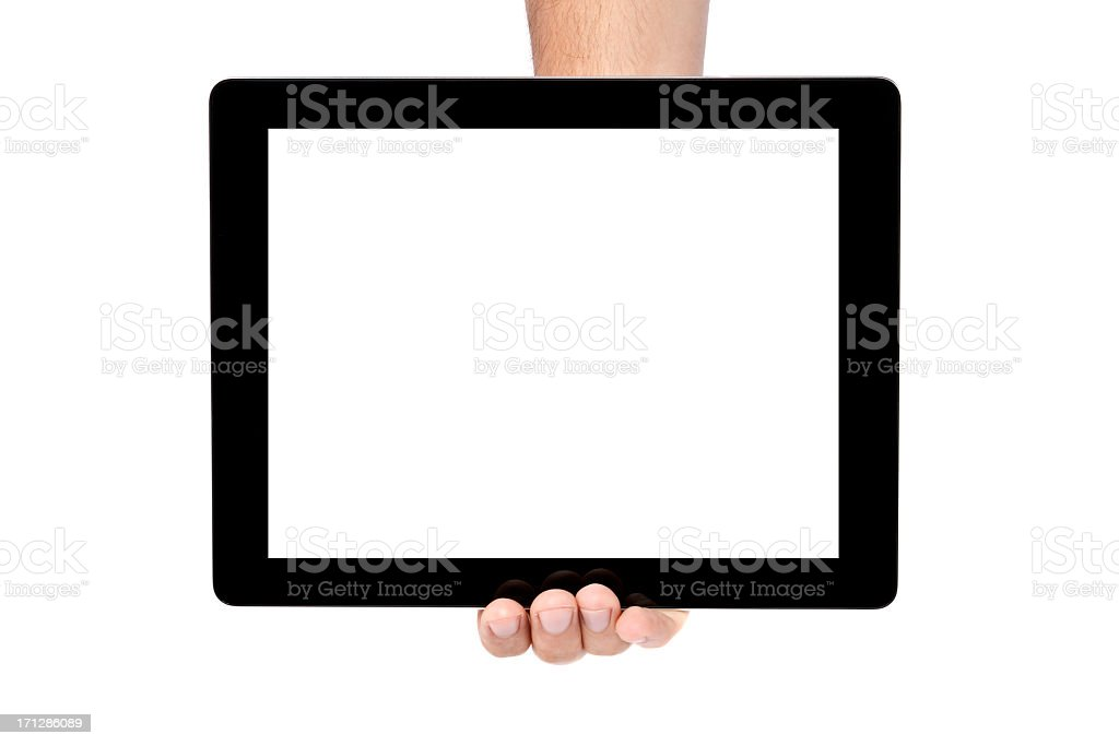 Person holding a tablet with a blank image in one hand stock photo