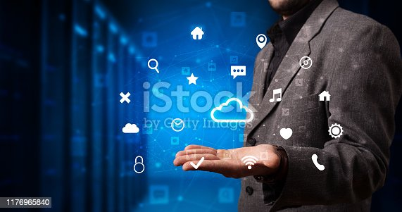 520592332istockphoto Person holding cloud system hologram screen 1176965840