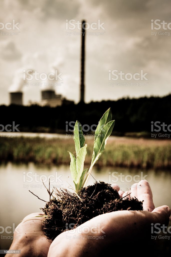 Person Holding Plant Seedling With Factory in Background royalty-free stock photo