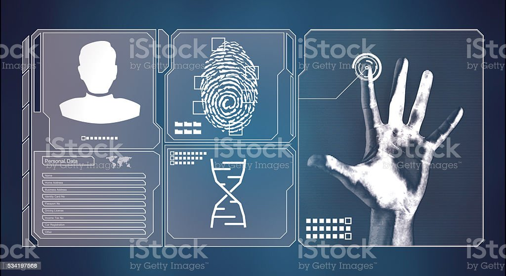 Person identity UI screen stock photo