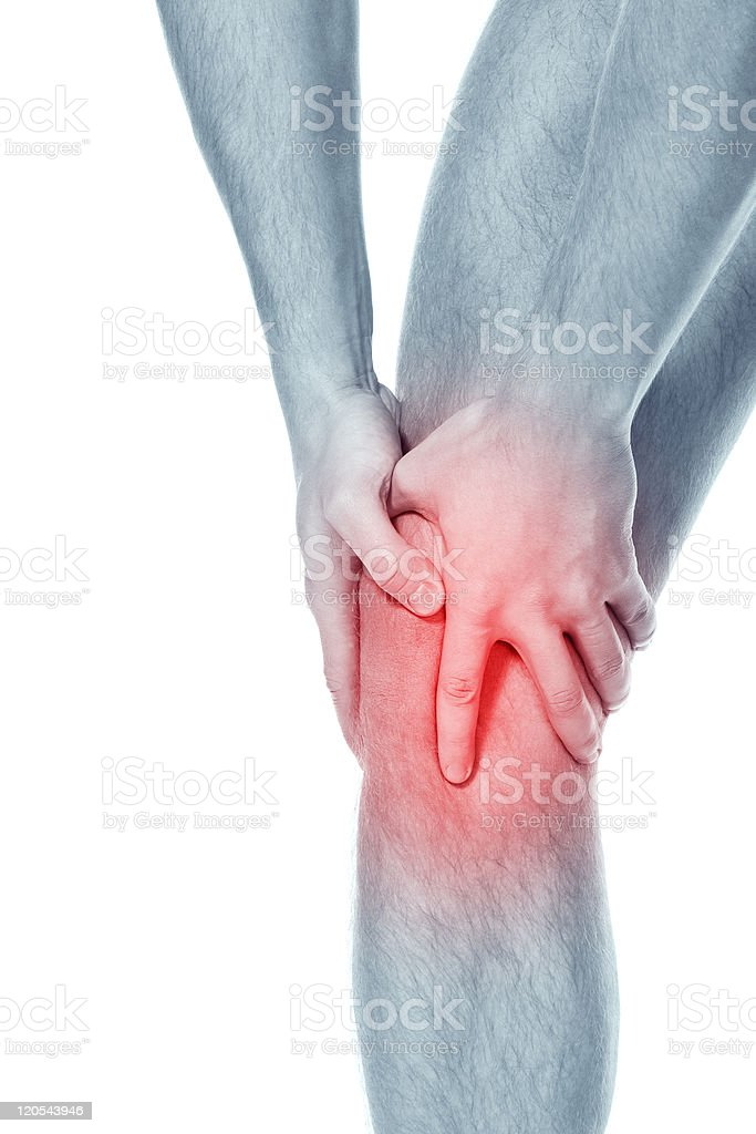 Person illustrated with knee pain from sports injury royalty-free stock photo