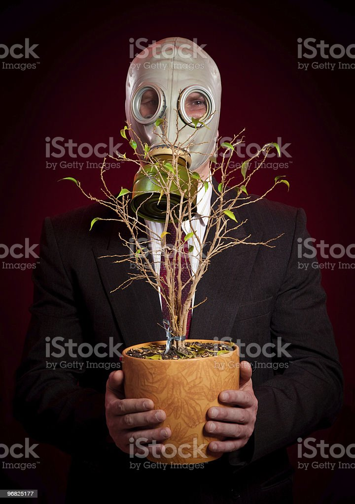 person in a gas mask royalty-free stock photo