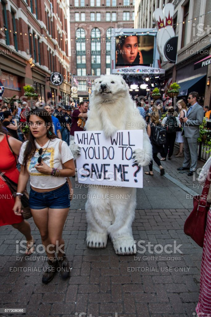Person in Bear Costume at RNC 2016 Convention stock photo