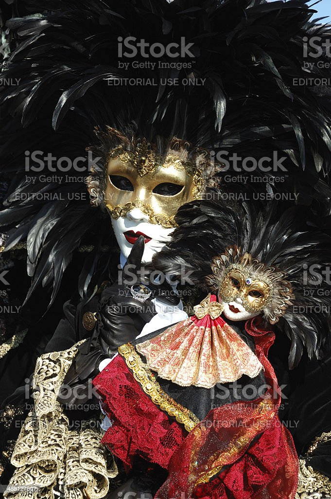 Person in bird's costume at Venice carnival,2011 royalty-free stock photo