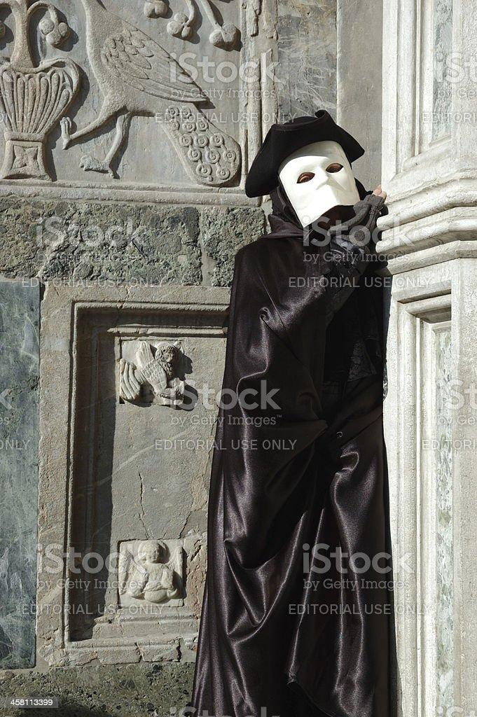 Person in costume of Casanova at Venice carnival,Italy,2011 royalty-free stock photo