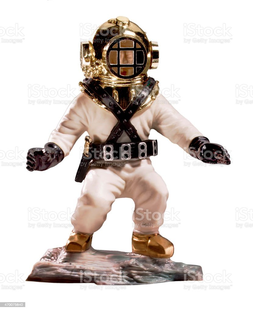 Person in Deep Water Diving Suit stock photo
