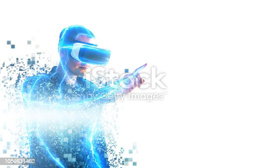 istock A person in virtual glasses flies to pixels. The man with glasses of virtual reality. Future technology concept. Modern imaging technology. Fragmented by pixels. 1056631462