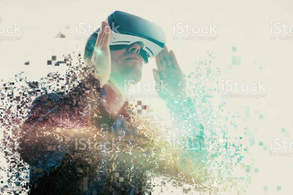 The man with glasses of virtual reality. Future technology concept....