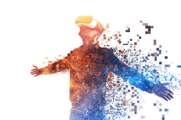 a person in virtual glasses flies to pixels. the man with glasses of virtual reality. future technology concept. modern imaging technology. fragmented by pixels. - pixellated stock photos and pictures