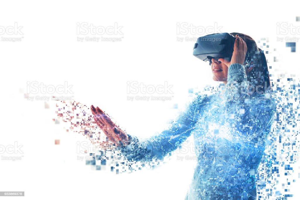 A person in virtual glasses flies to pixels. The woman with glasses...