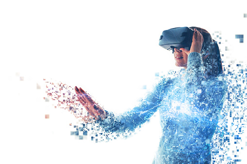 istock A person in virtual glasses flies to pixels. The woman with glasses of virtual reality. Future technology concept. Modern imaging technology. Fragmented by pixels. 933869376