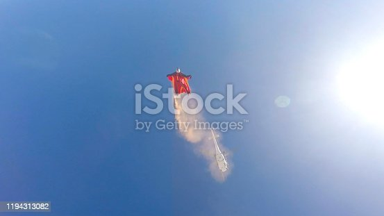 Helicopter flies above