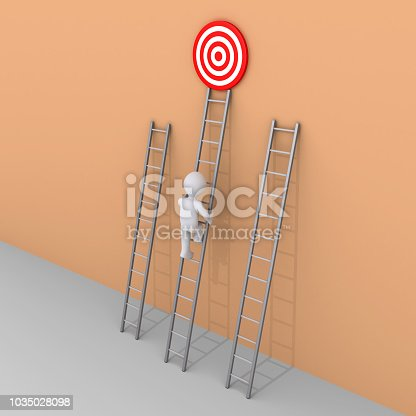 istock Person is choosing to climb the right ladder 1035028098