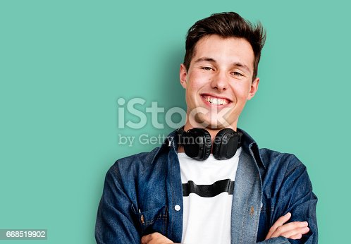 istock Person Listening Music Headphones Concept 668519902