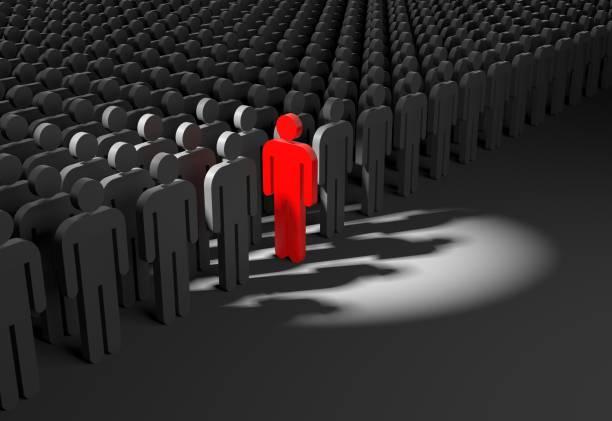 Person blickt von der Masse ab. 3D illustration – Foto