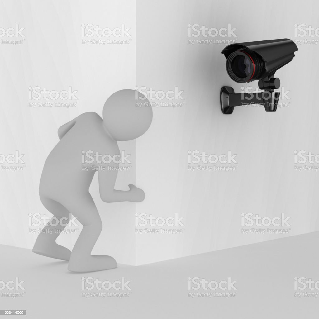 person looks out of corner. 3D image vector art illustration