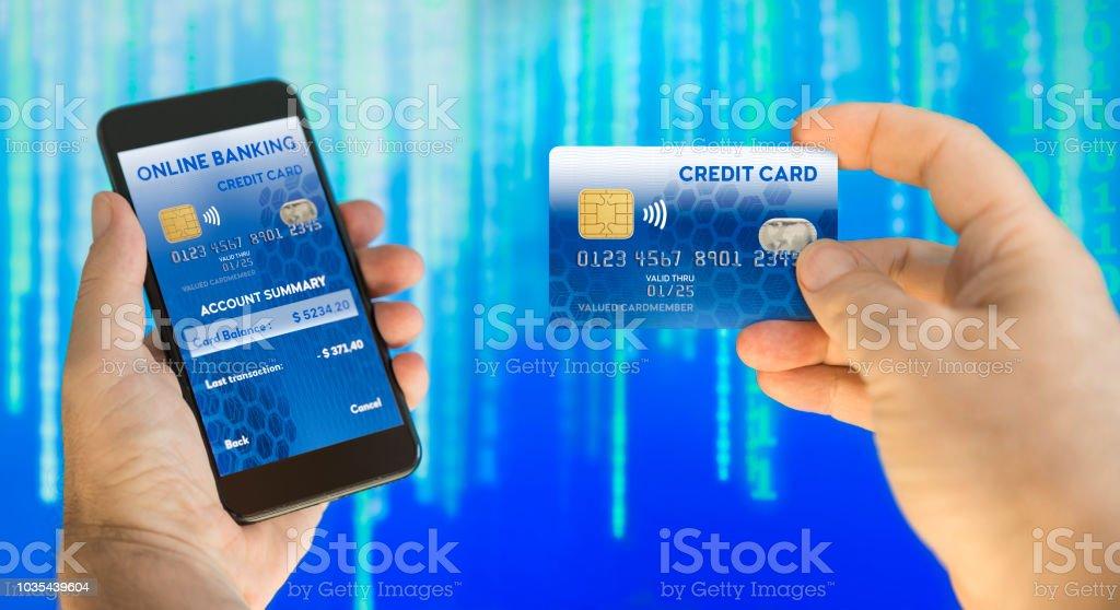 paiement par carte bancaire par téléphone Photo libre de droit de Personne Qui Paie En Ligne Avec Paiement