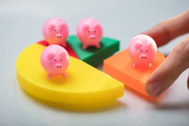Person Placing Last Piece Into Pie Chart With Piggy Bank Person's Hand Placing Last Orange Piece Into Pie Chart With Small Pink Piggy Bank 40 kilometre stock pictures, royalty-free photos & images
