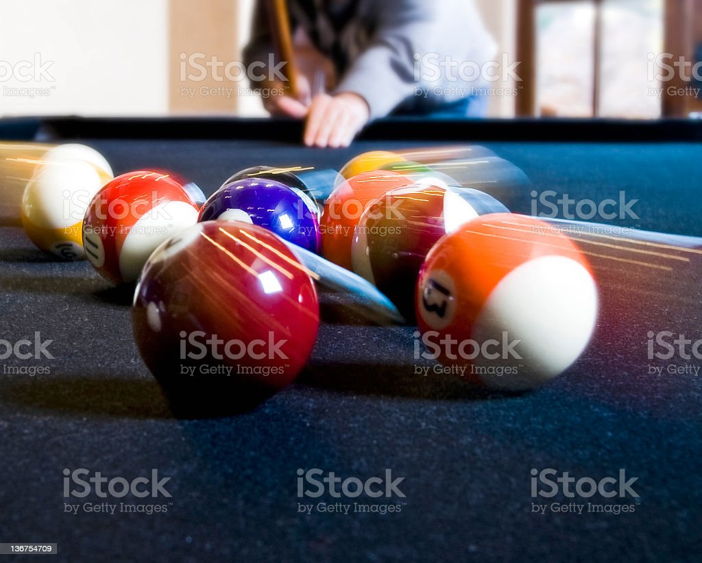 Person Playing Pool: Motion Blur royalty-free stock photo