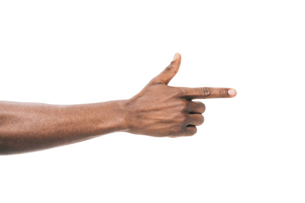 person pointing away with finger - finger point stock photos and pictures