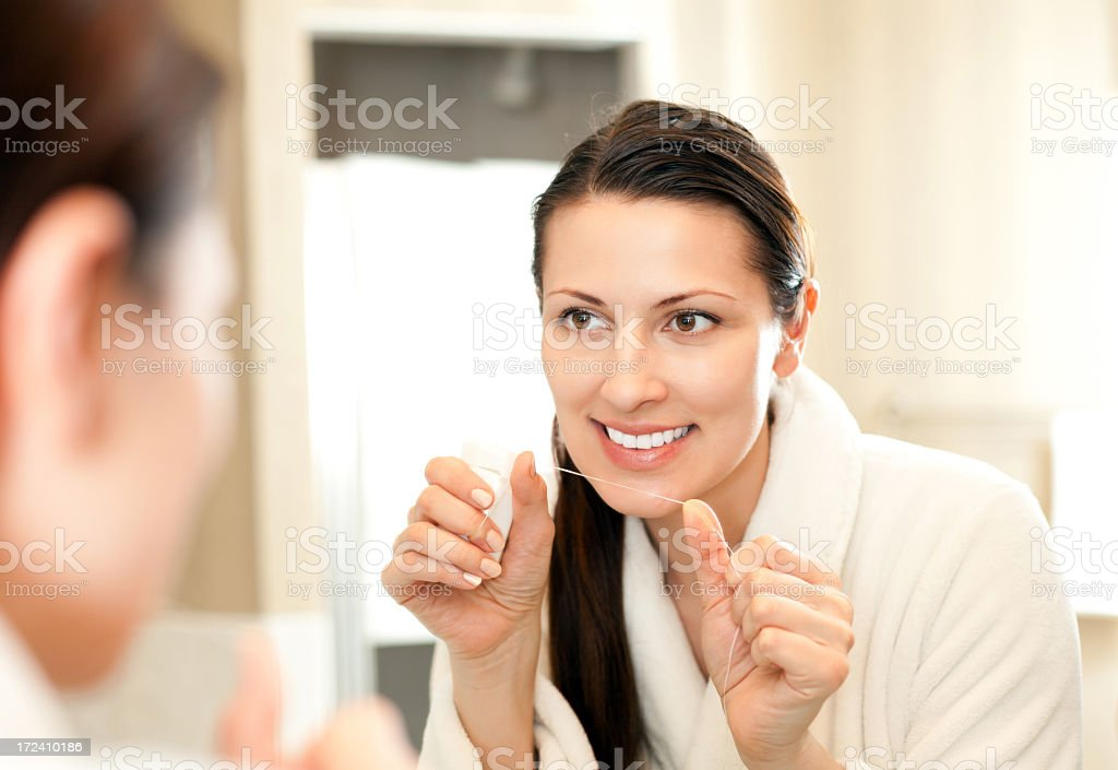 Person practicing good dental hygiene early morning - Royalty-free 30-39 Years Stock Photo