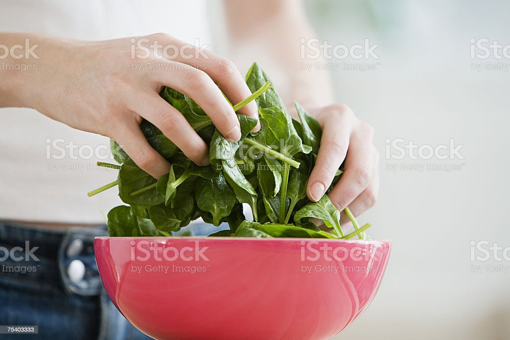 Person preparing spinach stock photo