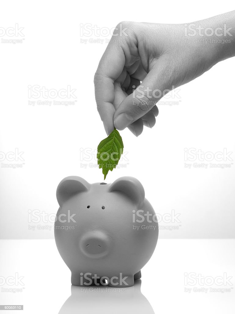 A person putting a leaf into a piggy bank royalty-free stock photo