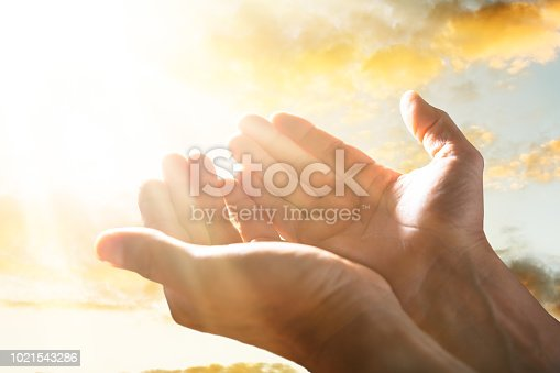 istock Person Raising His Hand Up To The Sky 1021543286